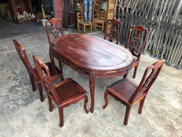 Bộ bàn ăn gỗ cẩm lai 6 ghế