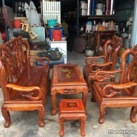 Bộ bàn ghế gỗ đỏ củ giá rẻ